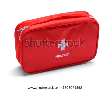 Red First Aid Kit Bag Isolated on White. #1506091562
