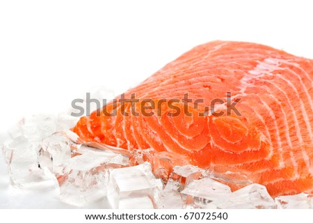 Red fish with ice slices on a white background