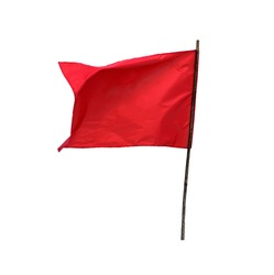 Red Flag old wooden isolated on a white background with clipping path.Concept signs communism.