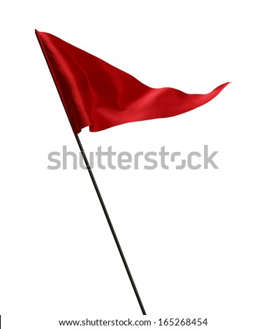 Red Flag Waving in the Wind on Pole Isolated on White Background.
