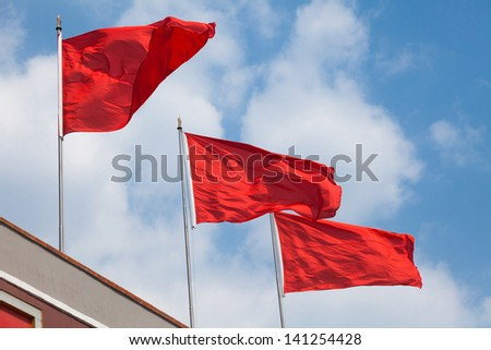 Red Flag with blue sky
