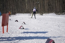 Red flags of ski track visibility visible warning