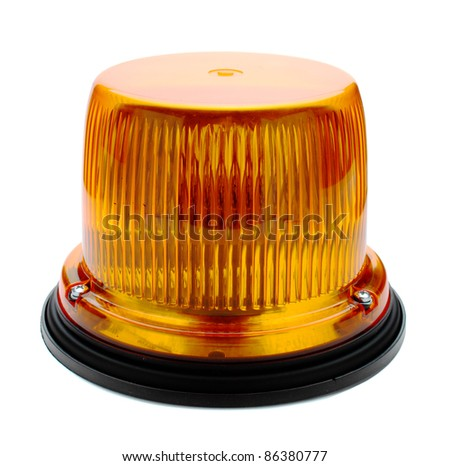 Red flashing beacon isolated on white.