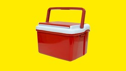 red flask with handle on yellow background