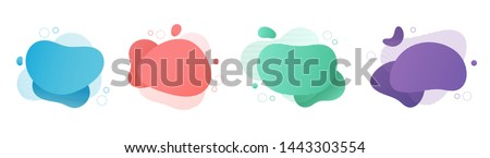 Red flat shape and green fluid blob, blue liquid stain and violet geometric form. Set of isolated abstract aqua spot with gradient or dynamic color. Background for card or template design for flyer. #1443303554