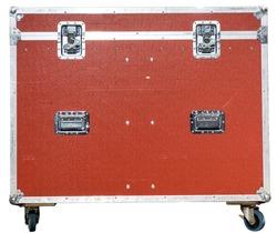 red flight case for music or light equipment. white back ground. road tour
