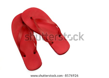 Red Flip Flops Isolated on White