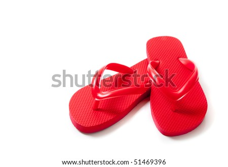 REd flip-flops on a white background