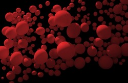 red floating bubbles in black back