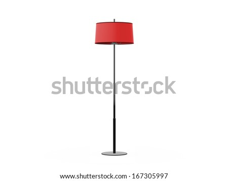 Shutterstock Red floor lamp, isolated on white background.