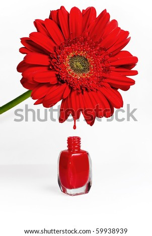 red nail polish meaning. stock photo : Red flower drops into nail polish