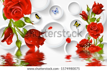 Red Flower With Circle And Butterfly And Water Wallpaper 3rd