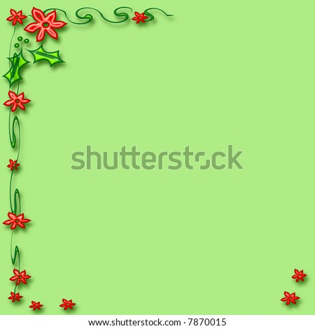 red flowers holly and poinsettia frame  green background #7870015