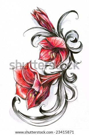Red flowers isolated on white background.Picture I have created myself with colored pencils.