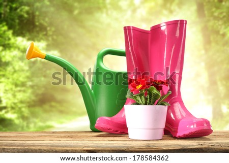 red flowers on desk and waders
