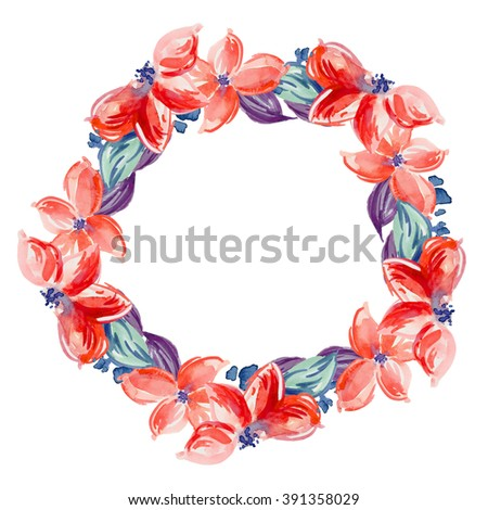 Red Flowers Watercolor Flower Wreath Frame On White Background