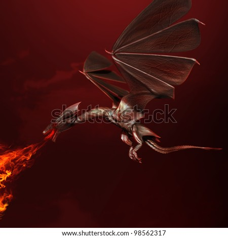 red flying dragon spewing a fiery stream of flame