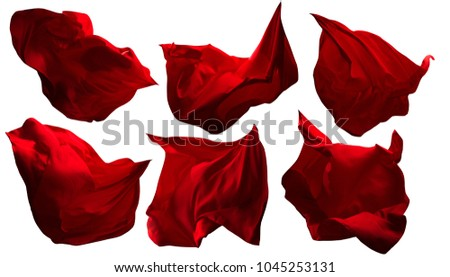 Red Flying Fabric Pieces, Flowing Waving Cloth, Shine Satin Clothes Drapes, Isolated on White Background
