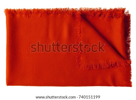 Red  folded wool shawl blanket isolated on white