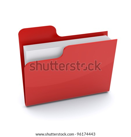 Red folder on a white background. 3d image - stock photo