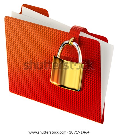 red folder with golden hinged lock stores confidential information