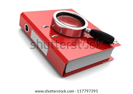 Red folder with magnifier above on it isolated on white background