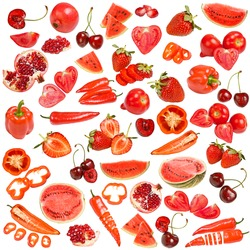 Red food collection isolated on white background
