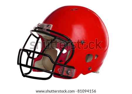 Red football helmet isolated over white background - With Clipping Path