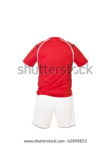 Red football shirt with white shorts isolated on white background