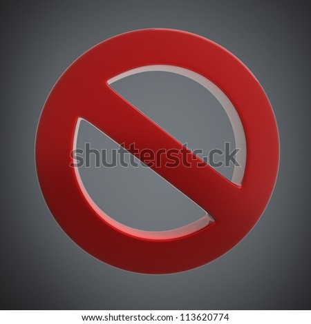 Red forbidden sign High resolution 3D render illustration