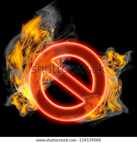 Red forbidden sign in Fire isolated on black background. 3d render illustration