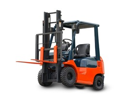 Red Forklift loader stacker truck equipment at warehouse isolate on white background. This has clipping path.