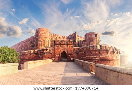 Red Fort Agra at sunrise, Uttar Pradesh, India