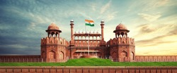 RED FORT DELHI INDIA WITH INDIA FLAG FLYING HIGH