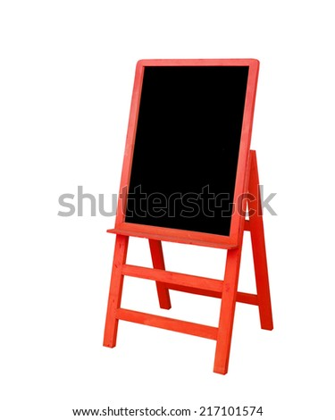red frame black board is on white background