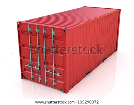 Red freight container isolated on white background