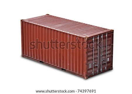 Red freight shipping container isolated on white with soft shadow (without names and serial numbers)
