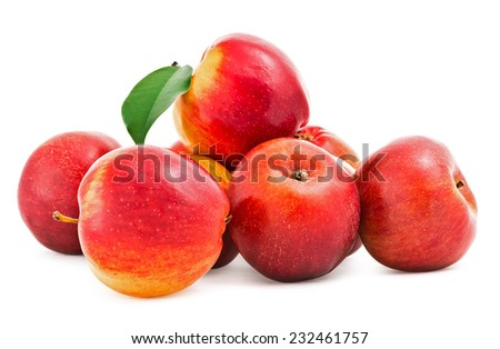 Red fresh apples . Isolation on a white background with clipping paths, increase focus zone folding multiple photos
