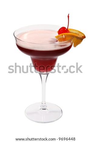 Red fruit cocktail isolated on white background