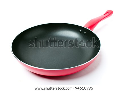 Red frying pan with a nonstick coating