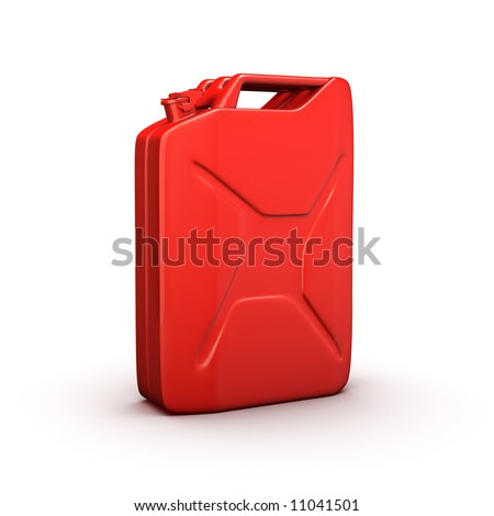 red fuel metal canister isolated