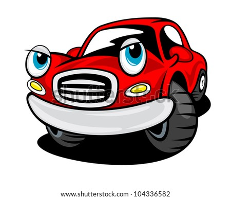 Red funny cartoon car isolated on white background for transportation design. Vector version also available in gallery