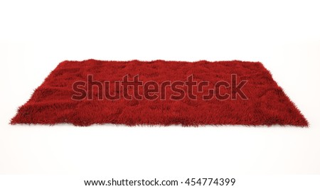 Red furry carpet. Isolated. 3D rendering