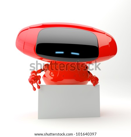 Red futuristic android with blank board for your advertisement