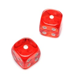 Red gambling dice, die pair for tabletop games and poker isolated on white background with clipping