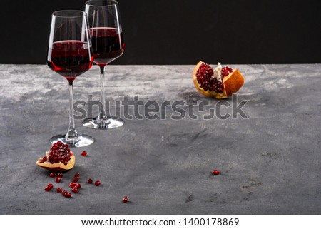 Red garnet, pomegranate and garnet red wine #1400178869