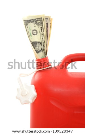 Red gas can with dollar in a studio shot