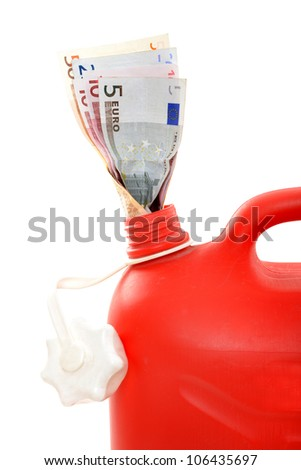 Red gas can with Euro in a studio shot