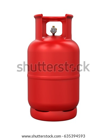 Red Gas Cylinder Isolated. 3D rendering