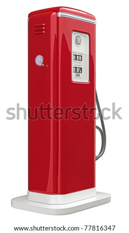Red gas pump isolated over white background. Bottom side view